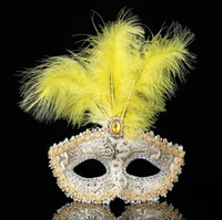 Wholesale venetian masquerade costumes for women for sale - Group buy Mask feathers wedding party masks masquerade mask Venetian mask women Lady Sexy masks Carnival Mardi Gras Costume G1171