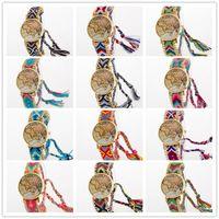Wholesale Braid Braclet - 13 colors Luxury Lady Women Weave Dress Watch Handmade Braided Quartz Wristwatch Braclet World Map Gold Dial Girls Casual Watches