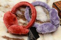 Wholesale Sheepskin Ear Muffs - Wholesale-Winter New Trend Australian Wired Earmuffs Genuine Sheepskin Woman Ear Muff shearling Wool Winter Warm Sequin Earmuffs for Girl