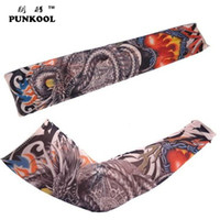 Wholesale Tattoo Nylon Gloves - Wholesale-More 24 Styles Have In Stock 2 Pcs lot Arm Warmers For Women men 2015 New Punk Cool Fake Nylon Tattoo Sleeve Free Shipping