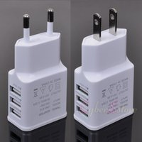 Wholesale Iphone Wall Charger Euro - US Euro Plug 5V 2.0A 3 USB Ports Smart Fast IC Wall Charger Power Adapter For iphone Samsung Huawei, Tab, tablet sony