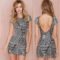 Wholesale Golden Tight Dresses - 2016 New golden sequins cap sleeve bodycon dress Summer Women Tight o neck dress backless sleeveless midi dress
