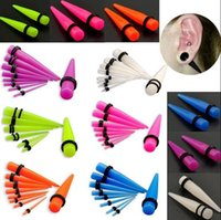 Wholesale Gauge Sets - 18pcs Fluorescent Acrylic Ear Plug Taper Gauges Expander Stretcher Piercing Set