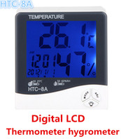 Wholesale Thermo Hygrometer Digital Clock - Luminous Digital Thermo-hygrometer Digital LCD with LED Light Temp Hum Meter Tester Date Clock HTC-8A Free Shipping
