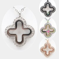 Wholesale Wholesale Chocolate Lockets - 32mm Magnetic Closure Silver Gold Rose Chocolate Black Rainbow 316L Stainless Steel Clovers Floating Locket with Czech Crystals