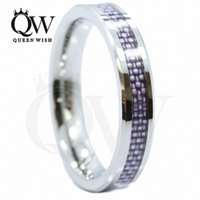 Wholesale tungsten carbide wedding ring sets resale online - 4mm Tungsten Carbide Wedding Bands his and hers Wedding Bands with Purple Carbon Fiber Inlay Tungsten Mens Engagement Rings Fashion Jewelry