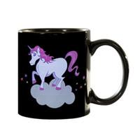 Wholesale Ceramic Color Changing Mug - Color Changing Mug 300ml Rainbow Unicorn Mug Chameleon Cup Thermosensitive Magic Cup Ceramic Water Bottle Novelty Gift