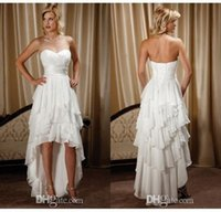 Wholesale Short Sweetheart Beach Wedding Dresses - New Arrival Short Front Long Back Sweetheart Chiffon High Low Country Western Wedding Dresses