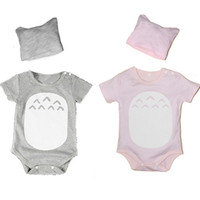 Wholesale Totoro Clothes - 2 Colors baby boy girls Romper Totoro Pattern Cartoon triangle Romper climb clothing Romper + hat cotton Short-sleeved Romper 2015
