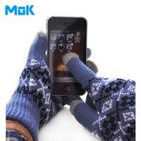 Wholesale Winter Mitts Wholesale - Wholesale-2015 Hot Sale Geometric Touch Sensor Gloves Winter Warm Touch Sensing Gloves Induction Men Gloves Mittens Senor Mitts