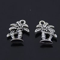 Wholesale diy coconut jewelry resale online - DIY Jewelry Accessories silver bronze Tone Vintage Alloy Coconut tree Plant Charms mm