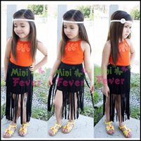 Wholesale Personal Candy - 2-7Y 2015 Fashion Girls Personal Style dress Set 2pcs floral candy shirt+Tassel dress kids clothes suits DHL free ship MOQ:6sets SVS0361#