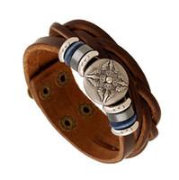 Wholesale black snap cuff bracelet - Leather Bracelet for Men Wide Alloy Bangles Student Snap Botton Wristband Cuff Bracelets Charm Bracelets Gift