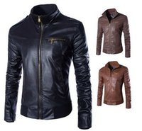 Wholesale Mens Leather Sleeves - 2015 new men's Stand collar fashion high quality men's leather coat jacket mens jackets coats Casual collar slim fit stitching