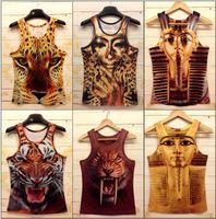 Wholesale Tiger 3d Tshirt - Harajuku 2015 men's fashion 3d animal tank tops pharaoh Tiger Wolf Cat skull dog flag print vest tees fitness sports tank tshirt