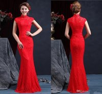 Wholesale Cheongsam Back - High Quality High Neck Sleeveless Chinese Mermaid Cheongsam Wedding Dresses 2015 Floor Length Zipper Back Red Lace Wedding Dress Bridal Gown