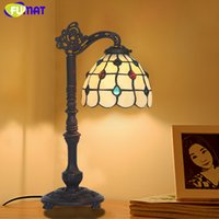 Wholesale Antique Glass Table Lamps - FUMAT Antique Glass Table Lamp Artistic Stained Glass Shade Stand Lights Living Room Store Bar Bedroom Bedside Lamp