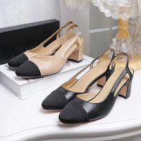 Wholesale Ladies Dress Low Heel Sandals - Jhe10 Mixed Color Cap-toe Slingbacks Sandals Thong Genuine Leather Sandals Chunky High Heel Dress Court Pumps Lady Women Shoes Sz 35-42
