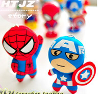 Wholesale Wholesale Cute Dolls - Free shipping 12pcs lot The Avengers Spider-Man&Captain America&thor plush pendant,cute Q version superhero doll