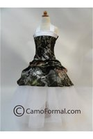 2015 Camo Flower Girl Abiti Halter Flower Girls Clothes Foresta Kids Wear Picked-up Custom Made Little Girl Dress per la festa di nozze