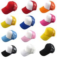 Wholesale Marketing Solids - Wholesale-Hot Marketing Unisex Casual Hat Solid Baseball Cap Trucker Mesh Blank Visor Hat Adjustable June16