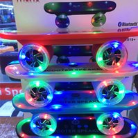 Wholesale Portable Stand Laptop - Newest Led Light Skateboard Bluetooth Wireless Scooter Speaker Mobile Audio Mini Portable Speakers For Christmas gift For Laptop iPhone iPa