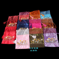 decorative organza ribbon bags - Handmade Ribbon Embroidery Gift Bags ffor Festive Party Favor Tassel Satin Fabric Patchwork Organza Tea Bags Drawstring Candy Pouches