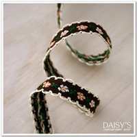 Wholesale Laciness Ribbon - 5 Yard  lot Accessories ribbon laciness lace trim embroidery decoration diy fabric 1cm dark coffee small flower