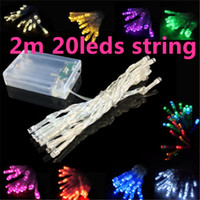 Wholesale Christmas Batteries - 3XAA Battery 2m 20 LED string MINI FAIRY LIGHTS BATTERY power OPERATED White Warm white Blue Red Yellow Green Pink Purply multi-color 2meter
