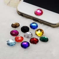 Wholesale Crystal Home Button - Wholesale-50pcs Diamond Bling Rhinestone Stickers cabochon crystal home button sticker for Apple iPhone 5 4S 4 4G 3GS home button Decals