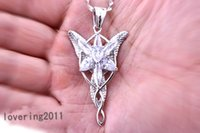 011 Nizza LOTR placcato oro Arwen Evenstar White Sapphire Collana Diamonique