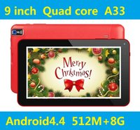 Купить Dual Rom Android-9-дюймовый Quad Core Tablet A33 Android 4.4 512MB RAM 8 ГБ ROM Wifi Двойная камера с фонариком Tablet PC DHL Free