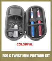 Wholesale Ego C Twist Double Kits - ego c twist double battery starter kit with mini protank clearomizer rebuildable ecigator variable voltage 650 900 1100 1300mah YA0260