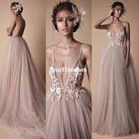 Wholesale plus size blush wedding dresses - 2017 Berta New Style Spaghetti Straps V Neck Wedding Dresses Blush Pink With 3D Flora Appliques A Line Floor Length Bridal Gown Custom Made