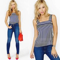Wholesale Ladies Navy Blouses - Wholesale-new 2015 vintage tanks & camis navy blue and white striped tank top women camisole dance fitness lady sleeveless blouse