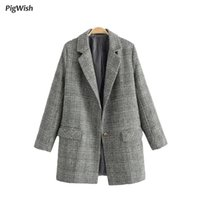 2017 Inverno Donna Plaid Blazer Vintage Long Suit Jacket Feminino Intaglio a intaglio manica lunga Ol Work Design Ladies Coat Outwear