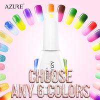 Wholesale Uv Gel Nails For Sale - Azure top sales nail gel polish 6pcs lot temperature nail color UV gel polish nail gel for nail soak off gel polish