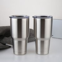 Wholesale Custom Business Logos - 2017 30oz Stainless Steel cups Tumblers business gift Cars Beer Cups silver color custom made logo Large Capacity Tumblerful Mugs wholesale