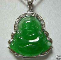 ingrosso collana di pendenti del buddha di giada verde-Collana con ciondolo Buddha in giada verde genuino
