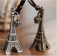 Wholesale Gold Eiffel Tower Charms - Eiffel Tower Crown Charm Pendant Necklaces Leather Chain Jewelry Vintage Silver Antuque Gold Plated Paris Tour Eiffel Jewellry Dress Widget