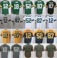 Men Color Rush 12 Aaron Rodgers Jersey 52 Clay Matthews 87 Jordy Nelson Maglie 18 Randall Cobb Bianco Verde Vapore Olive Salute al servizio