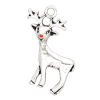 "Wholesale New X7 - Free Shipping New Arrival 20PCs Silver Tone Christmas Reindeer Charms Pendants 24x21mm(1""x7 8"") party decoration"