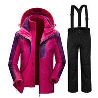 Wholesale Female Ski Suit - Russia Winter -35 Degree Skiing Suits Female Snowboard Suits Waterproof Super Warm Ski jacket + Pants For Women Outdoor Sport Coat pant
