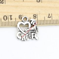 Wholesale heart cheer - 20pcs Antique Silver Plated Heart Cheer Charms Pendants for Jewelry Making DIY Handmade Craft 17x15mm A116 Jewelry making DIY