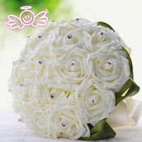 Wholesale Silk Wedding Bridesmaid Bouquets - 2015 New Bridal Wedding Bouquet Wedding Decoration Artificial Bridesmaid Flower Beads Crystal Silk Rose Cream Green 18 Pieces Rose WF002
