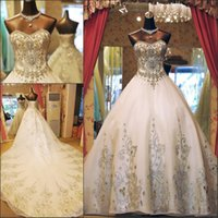 Wholesale Elaborate Gowns - 2017 Luxury Ball Gown Wedding Dresses Sweetheart Elaborate Crystal Beaded Organza Cathedral Wedding Gowns With Big Long Train Lace Up Back