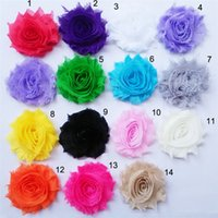 Wholesale Girls Hair Bands Accessories - shabby flowers for baby hair bands Chiffon rose Flowers DIY Hair Accessories for Baby Girls LY004