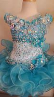 glamouröses mädchenkleid großhandel-Neue Dubai Mädchen Festzug Kleider Kristalle Blaue Spitze Ballkleid Glamouröse Kinder Festzug Kleid Blume Mädchen Kleider Für Hochzeit