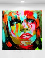 Wholesale Oil Paintings Picture - Sexy Red Lips Hand painted Oil Picture on Canvas Palette Knife Figure Woman Painting Home Living Wall Decor