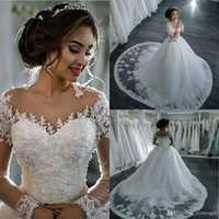 Wholesale halter neck vintage wedding dress - 2018 New Dubai Elegant Long Sleeves A-line Wedding Dresses Sheer Crew Neck Lace Appliques Cheap Vestios De Novia Bridal Gowns with Buttons